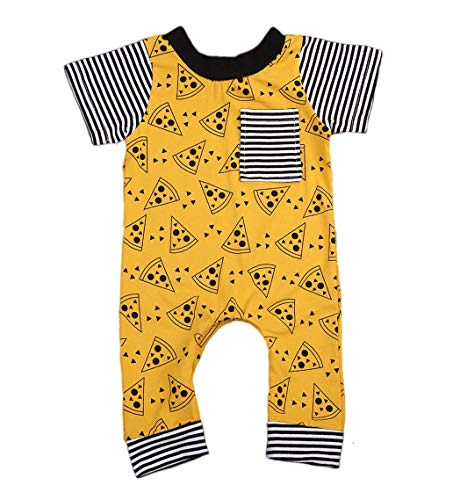 Pybcvrrd Infant Baby Boy Short Striped Sleeve Pizza Print Long Pant Cotton Romper Outfits (Yellow, 6-12 Months) (Pizza Onesie)