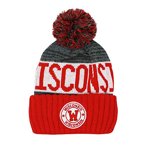 Wisconsin Badgers Soft Football - Football City Pom Beanie Premium Embroidered Patch Winter Soft Thick Beanie Skully Hat (Wisconsin)