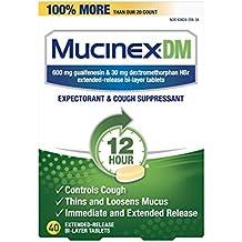 Mucinex DM 12 Hr Expectorant & Cough Suppressant Tablets, 40ct