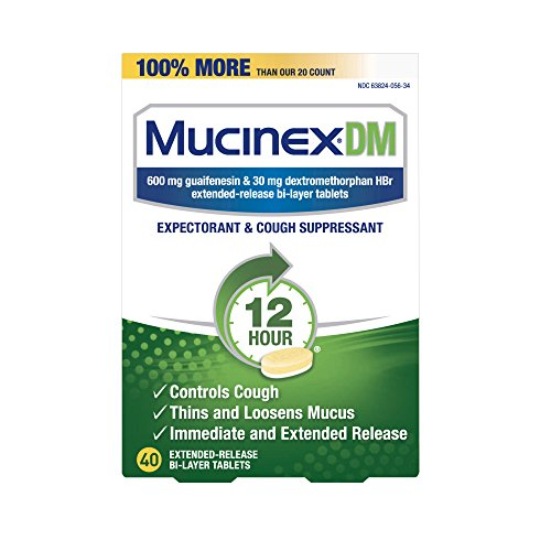 (Cough Suppressant and Expectorant, Mucinex DM 12 Hr Relief Tablets, 40ct, 600 mg, Thins & loosens mucus that causes chest congestion, #1 Doctor recommended OTC expectorant)