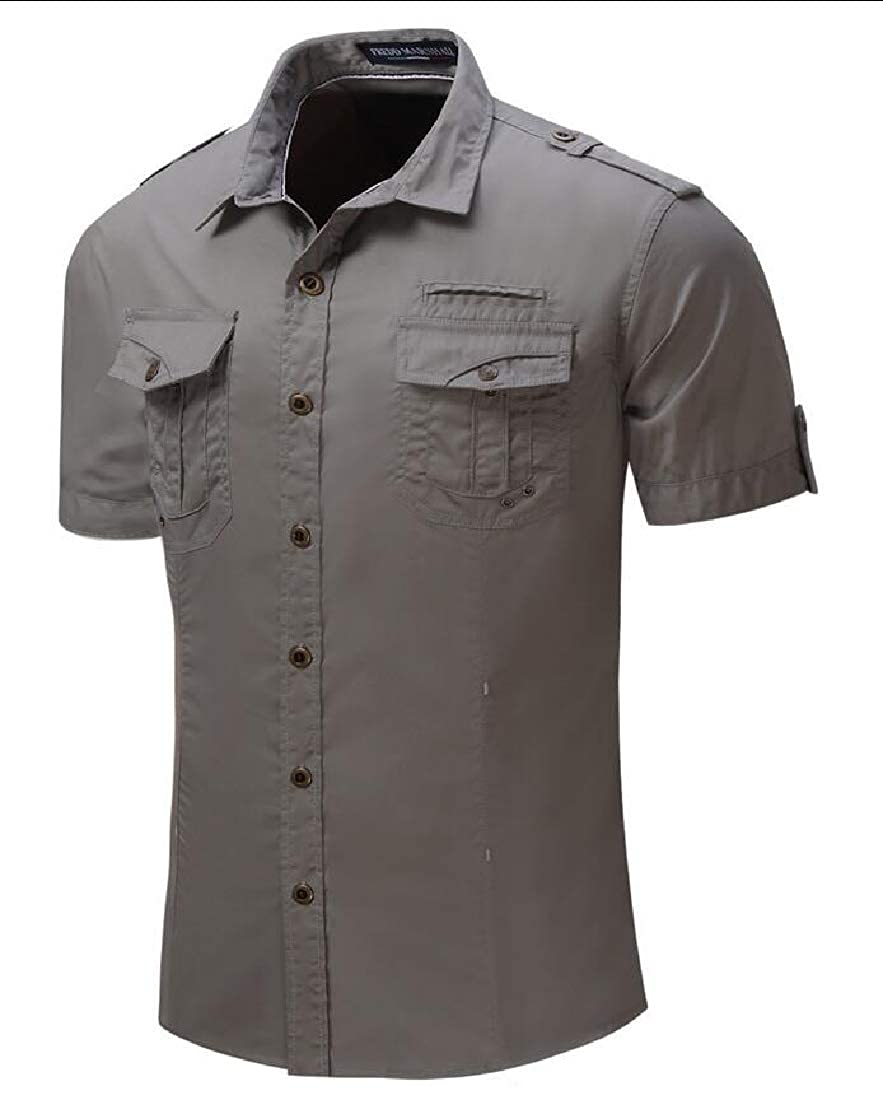 heymoney Mens Summer Short Sleeve Shirts Work Travel Military Blouses Tops
