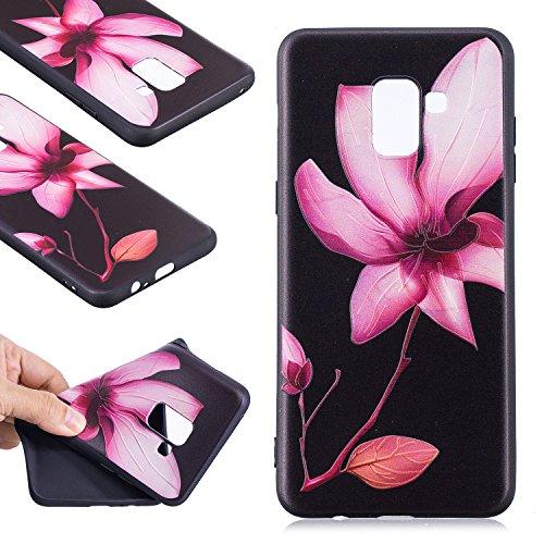 Funda para Samsung Galaxy A8 Plus 2018 (SM-A730) , IJIA Flores Hermosas TPU Negro Silicona Suave Cover Soft Case Tapa Caso Parachoques Carcasa Cubierta para Samsung Galaxy A8 Plus 2018 (6.0) (BF39)