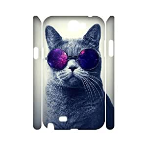 GGMMXO Cute Cats 1 Phone 3D Case For Samsung Galaxy Note 2 N7100 [Pattern-1]