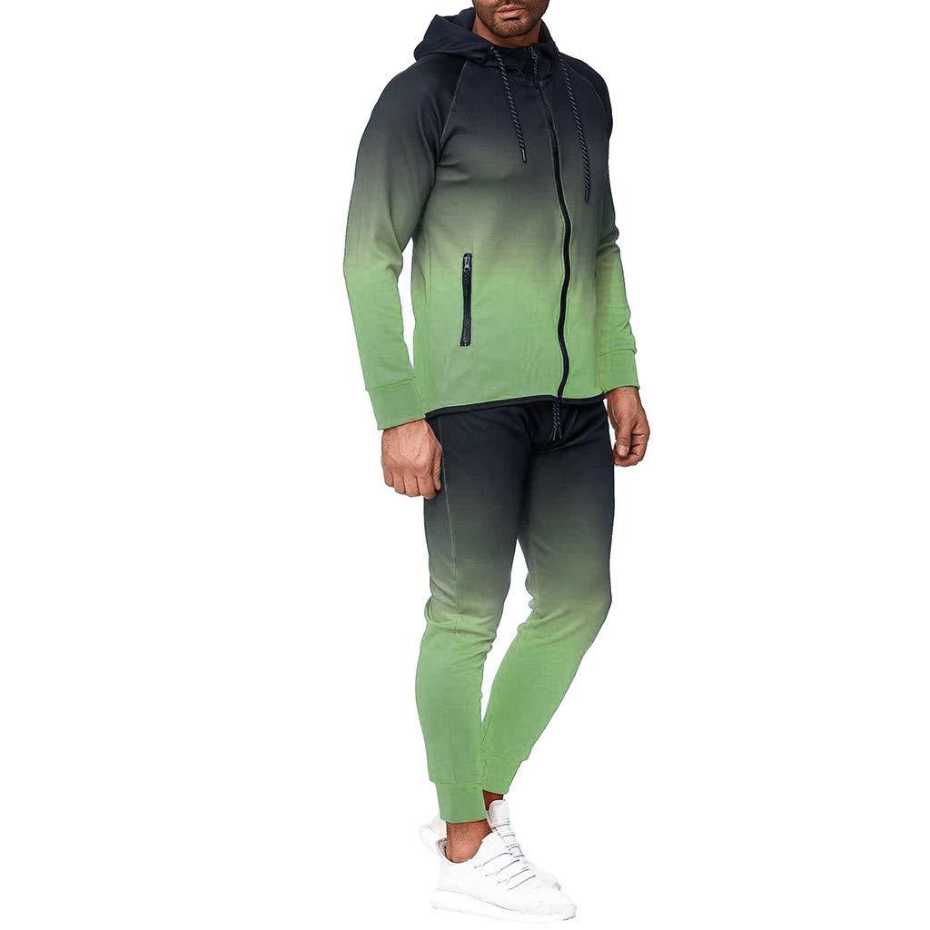 Chaqueta con Capucha Cremallera y Te/ñido Oto/ñal para Hombre Pantalones Superiores Conjuntos Traje Deportivo Ch/ándal Manga Larga Hoodie Casual Abrigo riou