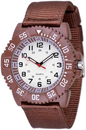 WOLFTEETH Water Resistant Analog Quartz White Dial Brown Band Sport Military Boy Wrist Watch #3015