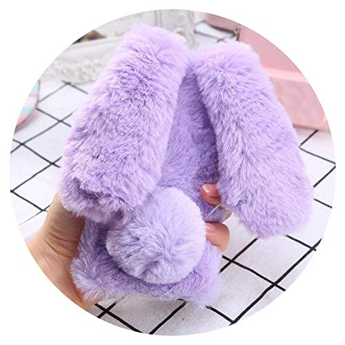 (Fashion Fluffy Winter Soft Rabbit Hair Phone Cases for iPhone 6 6s 6Plus Case Cute Long Ear Rabbits Bling Diamond Bowknot Cover,Purple,for iPhone 6 6s)