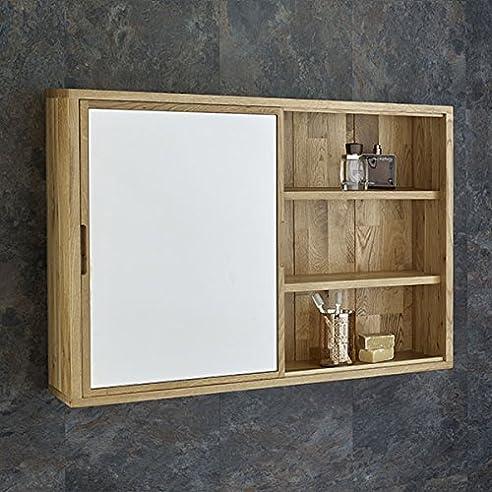 Clickbasin, Eiche Massiv, 80 Cm Breit, Wandmontage Badezimmer Spiegelschrank,  Mit Schiebetüren