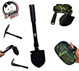 D-Rhino Outdoors Folding Shovel 16.5'' with Pickax and Bottle Opener - Backpacking, Hiking and Camping Multi-functioning - Garden - Snow - Military Style Survival with Case