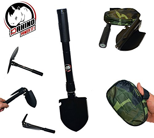 D-Rhino Outdoors Folding Shovel 16.5'' with Pickax and Bottle Opener - Backpacking, Hiking and Camping Multi-functioning - Garden - Snow - Military Style Survival with Case by D-Rhino