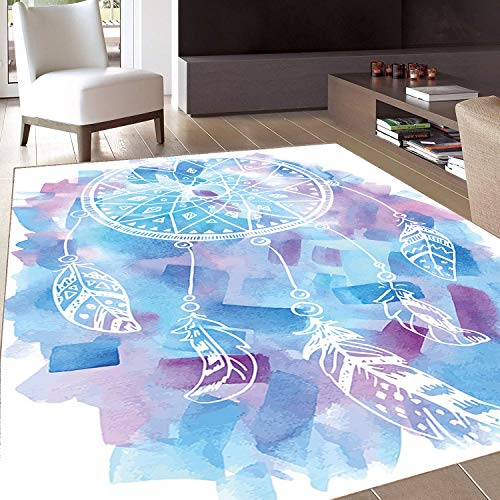 Rug,Floor Mat Rug,Feather,Area Rug,Abstract Dream Catcher with Watercolor Background Artistic Brushstrokes,Home mat,5'x6'Pale Blue Lilac White,Rubber Non Slip,Indoor/Front Door/Kitchen and Living Room
