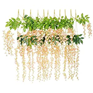 Anlise 12 P 3.6 FT Artificial Wisteria Hanging Vine Ratta Garland Silk Fake Flowers String 114