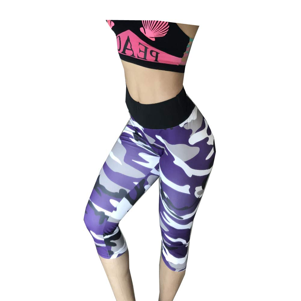 Morbuy Womens Tight Capris Trousers, Elasticated Waist Womens Casual Running Gym Workout Pants Trousers 3/4 Capri (XL, High Waist Camouflage Purple)