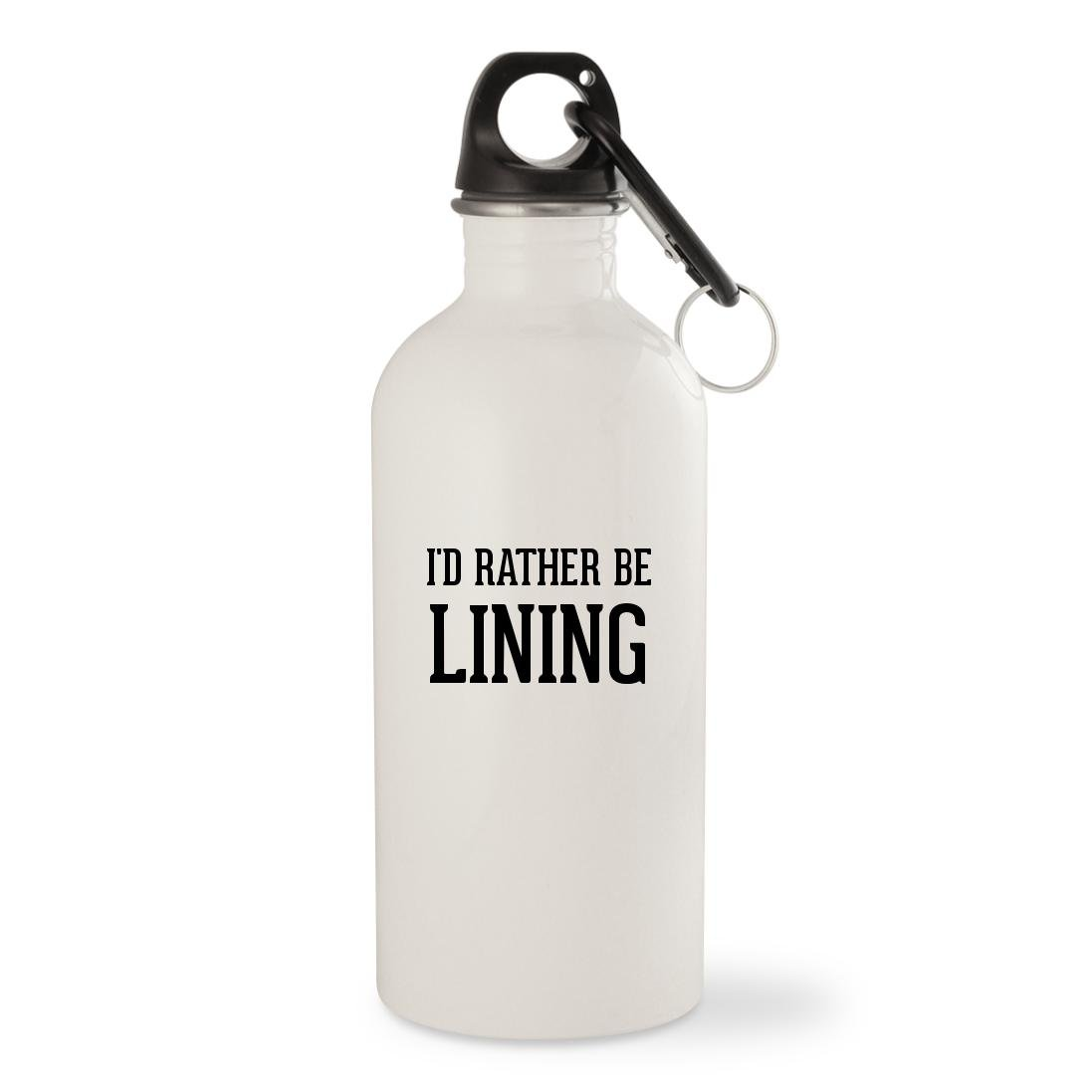 I'd Rather Be LINING - White 20oz Stainless Steel Water Bottle with Carabiner