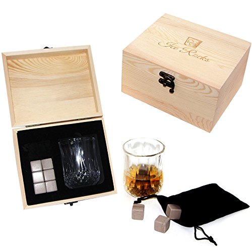 Whiskey stones gift set - Elegant Tumbler Glass with 6 Ice Rocks, Perfect Whiskey Gifts for the Christmas holidays, comes in a Nice Wooden Gift Box, Whisky Chilling Rocks for your Scotch