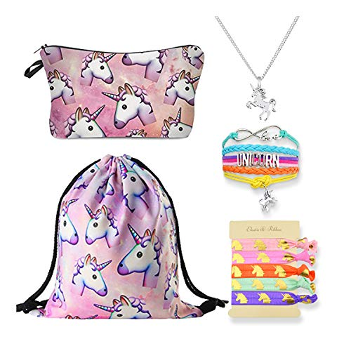 DRESHOW 5 Pack Unicorn Gifts for Girls Drawstring Backpack//Makeup Bag//Necklace//Coin Purse Unicorn Set
