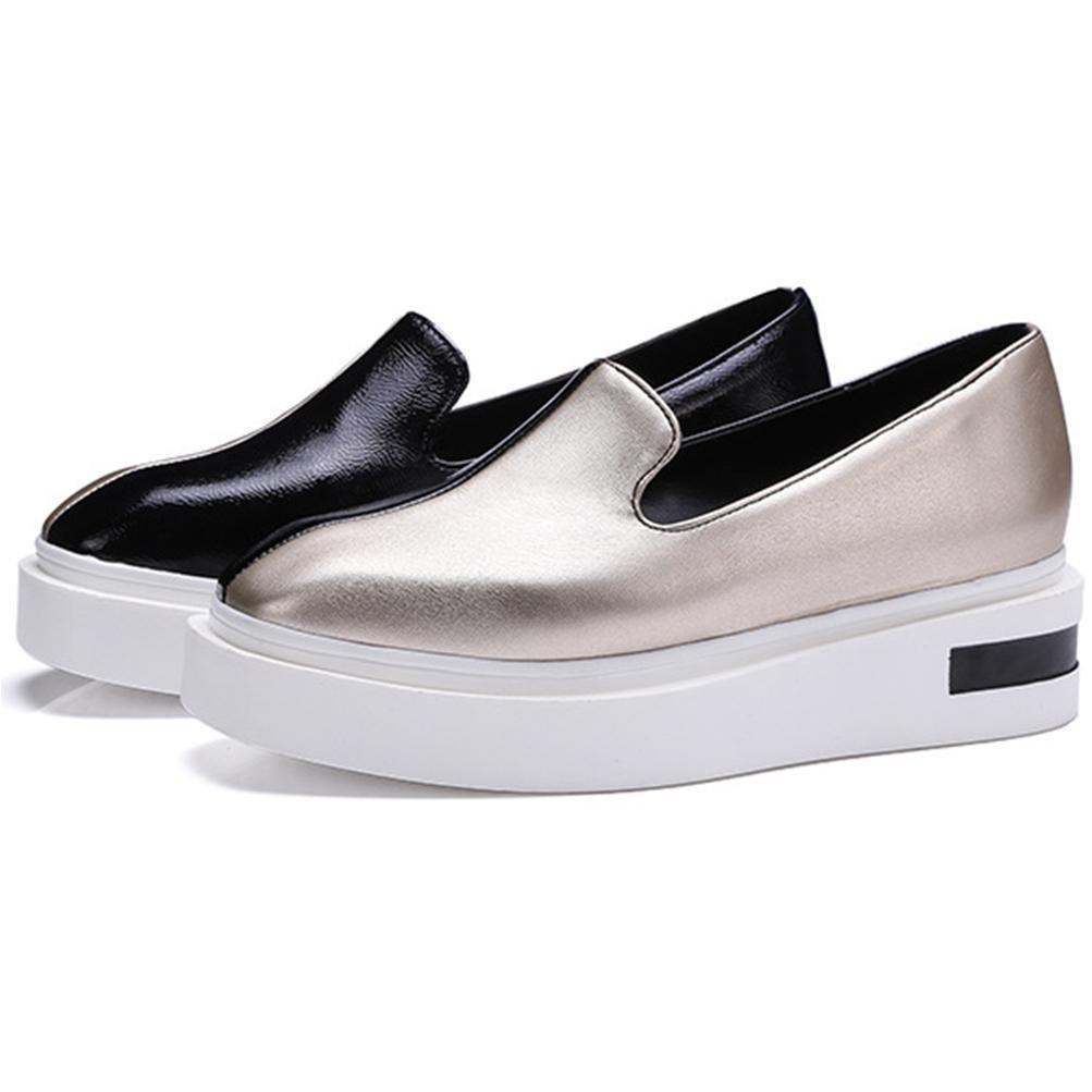 QPYC Las señoras de las mujeres Square Head Lazy People Shose zapatos de cuero de patente de la PU Female Gold Green Thick Bottom Shoe , green , 40