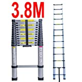 3.8M Telescopic Ladder - EN131 Aluminium Foldable Extension Ladder Max. 150kg