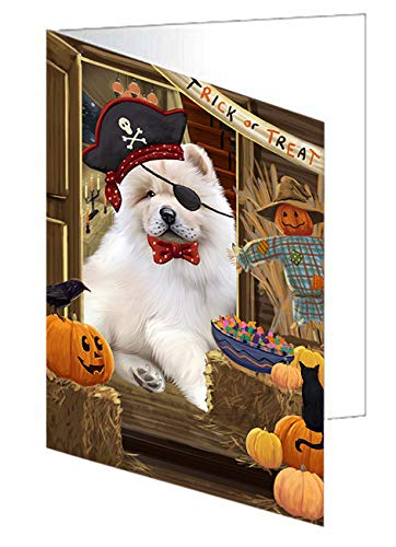 Enter at Own Risk Trick or Treat Halloween Chow Chow Dog Greeting Card GCD63287 (20)]()