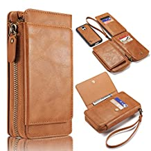 Galaxy S5 Cases Purse, Bonice Premium Leather Magnetic Retro Detachable Folio Zipper Protective Phone Wallet Case with Multiple Card Slots Extra Wallet Storage for Samsung Galaxy S5 - Brown