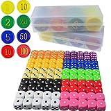 obmwang Game Dice & Poker Chip Set - 100x Colorful Game Dices 160pcs 4 Colors Poker Chips for Parties Game Play, Tenzi, Farkle, Yahtzee, Bunco, Board Games,Casino or Teaching Math