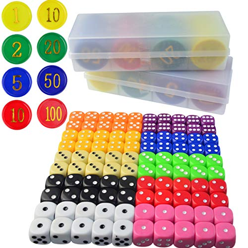 obmwang Game Dice & Poker Chip Set - 100x Colorful Game Dices 160pcs 4 Colors Poker Chips for Parties Game Play, Tenzi, Farkle, Yahtzee, Bunco, Board Games,Casino or Teaching Math by obmwang