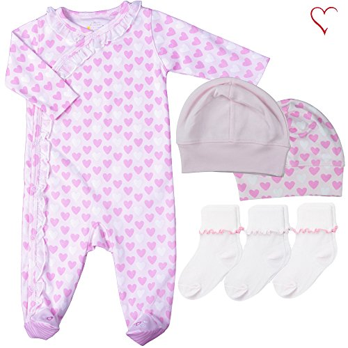 Country Kids Fishfeathers Baby Girls' hearts Snap Front Footed Coverall Hats Socks, 6 Piece Gift Set, Infant (Fits Newborn up To 9 Months)