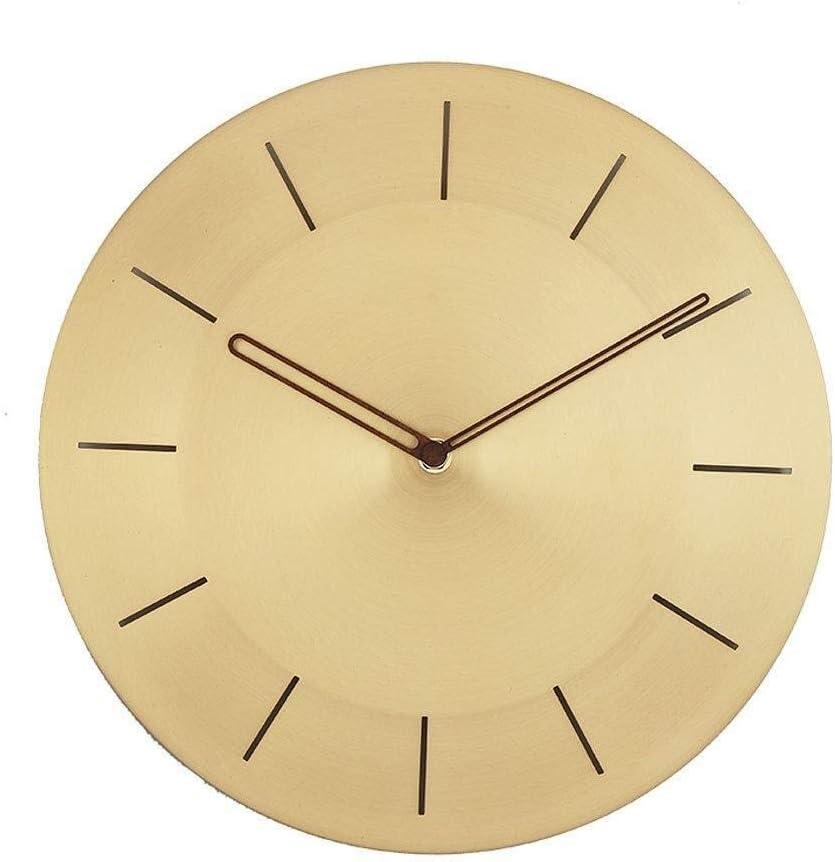 Jixi Latón Reloj de Pared Mudo Sin tictac Operación de batería Decorativa de Cuarzo Nordic Sala de Estar Cocina Oficina Escuela (Color : C, tamaño : 12IN)