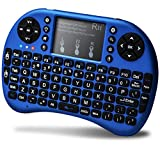 Rii Mini Bluetooth Keyboard with Touchpad&QWERTY Keyboard, Backlit Portable Wireless Keyboard for Smartphones/ Laptop/PC/Tablets/Windows/Mac/TV/Xbox/PS3/Raspberry Pi .(i8+ Blue)