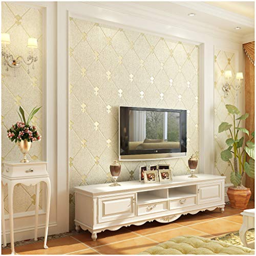QIHANG European Modern Simple 3D Non-woven Imitation Deerskin Wallpaper Living Room TV Background Diamond lattice Pattern Wall paper Roll 1.73'(0.53m)32.8'(10m)=57 sq.ft(5.3m2) (Beige)