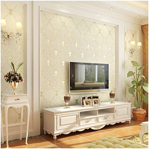 QIHANG European Modern Simple 3D Non-Woven Imitation Deerskin Wallpaper Living Room TV Background Diamond Lattice Pattern Wall Paper Roll 1.73'(0.53m)32.8'(10m)=57 sq.ft(5.3m2) (Beige)