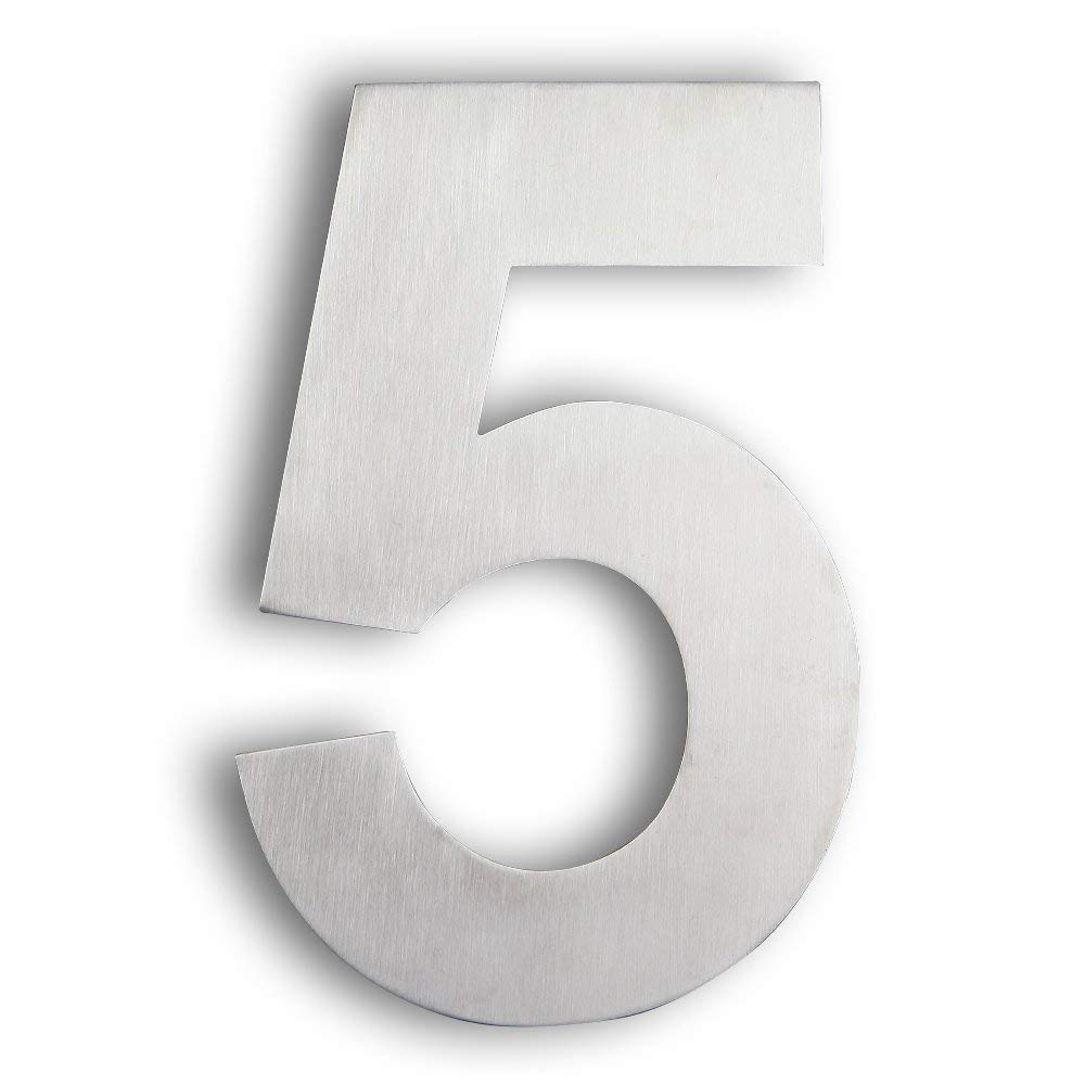 Modern house number 5 large 8 inch 20 cm brushed stainless steel number 5 five floating appearance easy to install and made of solid 304 house