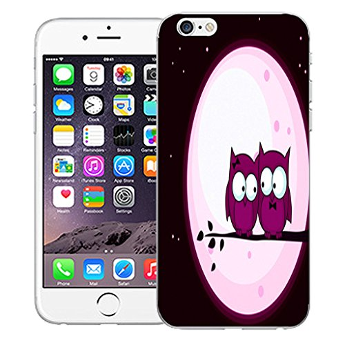 "Mobile Case Mate iPhone 6S 4.7"" Silicone Coque couverture case cover Pare-chocs + STYLET - Pink Night Owls pattern (SILICON)"