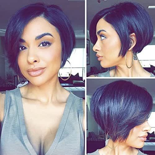 MeiRun 150 Density 13x6 Deep Part Lace Front Human Hair Wigs Pre-Plucked Pixie Cut Bob Wigs With Baby Hair Short Bob Lace Wigs Brazilian Hair Wigs 8inch