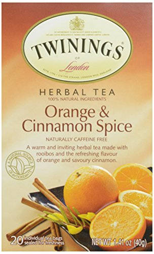 Twinings of London Orange & Cinnamon Spice Herbal Tea Bags, 20 - Twining Rooibos Tea