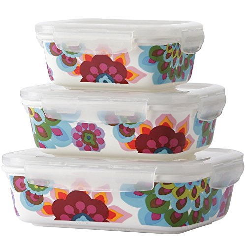 French Bull 3 Piece Porcelain Food Storage Container Set - Lunch, Airtight - Gala