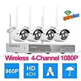 Floureon 4CH 1080P AHD NVR Wireless CCTV DVR Camera Security System+4 1.3MP 960P