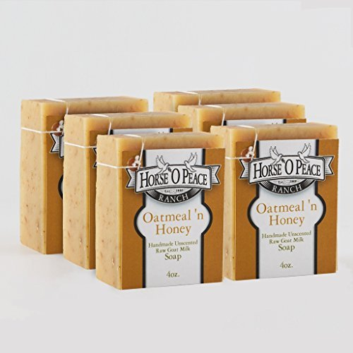 Handmade 100% Raw Goat Milk Oatmeal 'n Honey Soap (4.5oz./Bar) (6 Pack)