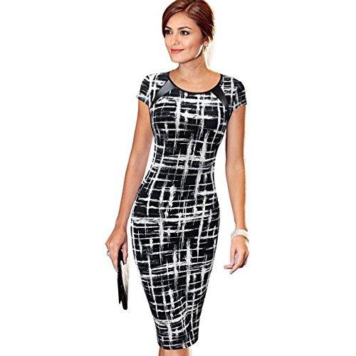 - Women's Casual Polk Dot Print Cap Sleeve Wear to Work Office Career Sheath Dress Pencil Woven Dress (S, Black 2)