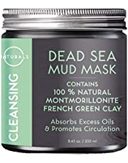 O Naturals Dead Sea Mud Mask with French Green Clay 8.45 oz. 100% Natural Cleansing Facial Mask for Exfoliating, Absorbing Excess Oils, Reducing Acne, Promoting Circulation & Tightening Pores. Vegan