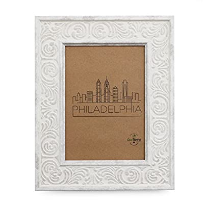 5x7 Picture Frame Distressed White - Mount Desktop Display, Frames by EcoHome - Picture Frame ready to Mount on the wall or Easel back to display on desktop. Sturdy picture frame to decorate a wall, Vertically and Horizontally. Made of recycled PS and glass. No trees were cut producing our frames. - picture-frames, bedroom-decor, bedroom - 51w4T3FHqtL. SS400  -