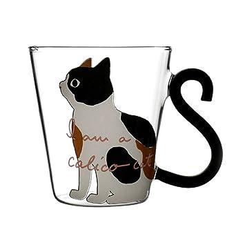 BESTONZON Taza de vidrio con gato de 250 ml de vidrio con asa tazas de vidrio bebiendo té latte Expreso leche (blanco): Amazon.es: Hogar