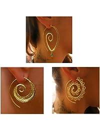 Spiral Hoop Earrings Set Vintage Tribal Swirl Earrings...