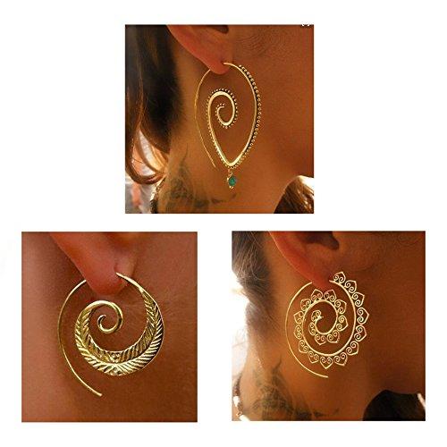 Spiral Hoop Earrings Set Vintage Tribal Swirl Earrings For Women 3 Pairs/Set (Gold) ()