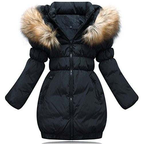 Brinny Daunenjacke Kinder Mädchen Winterjacke Fellkapuze Verdickung Lang Jacket Wintermantel Mantel Trenchcoat Parka Outerwear Oberbekleidung Winter