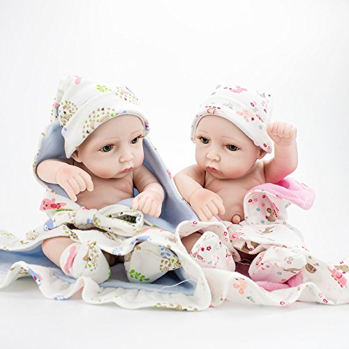 Kaydora 10inch Full Silicone Reborn Baby Boy and Girl Twins Washable Handmade Lifelike Dolls Looking Body Wrinkles – With Pink and Blue Baby Bath Robe