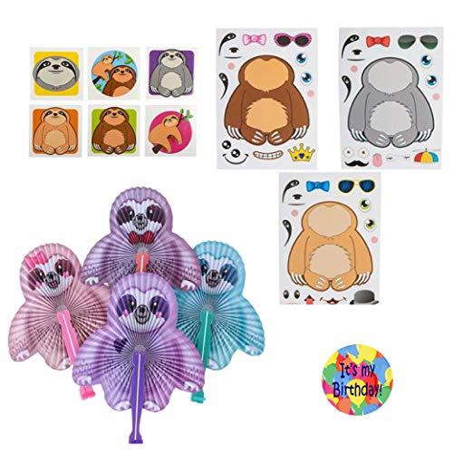 Sloth Party Favors for 12 - Make Sloth Stickers (12), Sloth Tattoos (144), Sloth Fans (12) and a Happy Birthday Sticker (Total 169 Pieces)