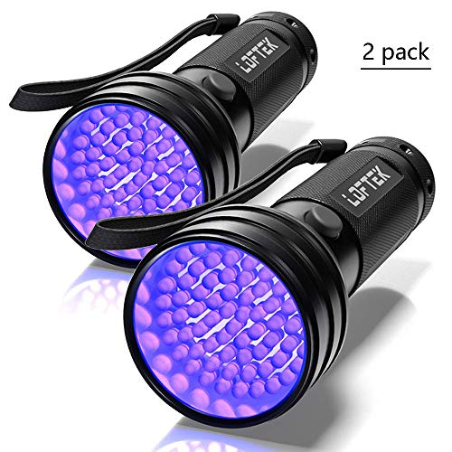 2-Pack UV Flashlight Black Light, LOFTEK 51 LEDs 390-395 nm Ultraviolet Blacklight, Portable and Perfect Tool For Scorpion Hunting, Pet Urine and Stains Detecting, Hotel Sanitary Inspection