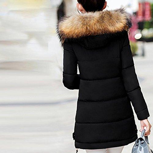 Cappotto Parka Nero Sottile Outwear Caldo Giacca Dayseventh Inverno Con Imbottita Cappuccio Lungo Donne Giù 51On8RxwqC