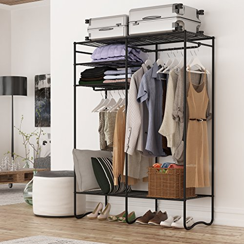LANGRIA Extra-Large Heavy-Duty Zip Up Closet Shoe Organizer with Detachable Brown Cloth Cover Wardrobe Metal Storage Clothes Rack Armoire with 4 Shelves and 2 Hanging Rods Max Load 463 lbs. (Black) - Bedroom Metal Armoire