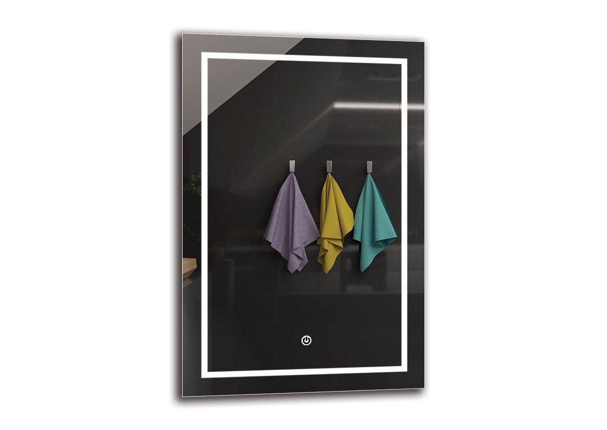 LED Spiegel Deluxe - Spiegelmaßen 40x60 cm - Touch Schalter - Berührungsschalter - Badspiegel - Wandspiegel Lichtspiegel - Fertig zum Aufhängen - ARTTOR M1CD-48-40x60 - Lichtfarbe Weiß warm 3000K